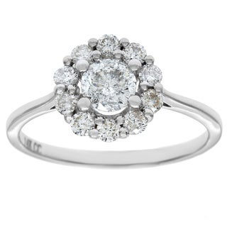 14k White Gold 1ct TDW Round-Cut Diamond Halo Engagement Ring (G-H, I1)