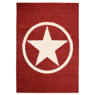 Magic Star Red Area Rug (5'3 x 7'7)