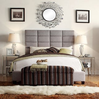 INSPIRE Q Tower Grey Linen High Profile Upholstered Bed