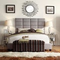 Grey Linen Column Full/ Queen Bed