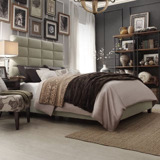 INSPIRE Q Tower Taupe Velvet Full/ Queen Upholstered Bed