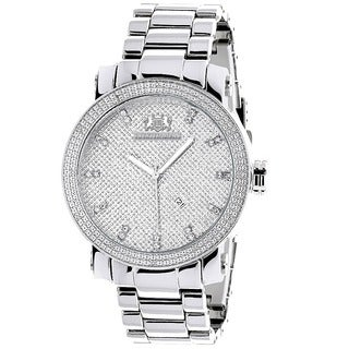Luxurman Men's 1/10ct Diamond Watch Stainless Steel Band