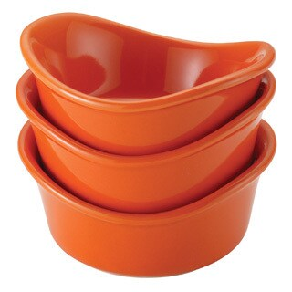 Rachael Ray Stoneware Orange 3-Piece Round Dipping Cup Set