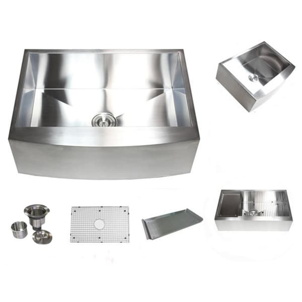 36-inch Stainless Steel Farmhouse Single Bowl Curve Apron Kitchen Sink
