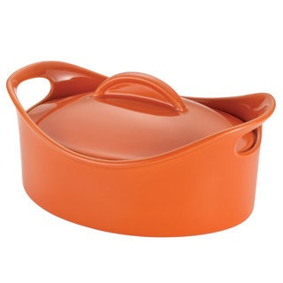 Rachael Ray Orange Stoneware 2.5-Quart Oval Casserole Pan