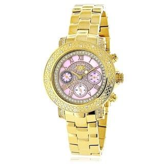Luxurman Women's Pink Dial Yellow Gold Plated 1/3ct Diamond Watch