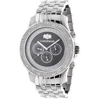 Luxurman Men's 1/4ct Black Dial Chronograph Diamond Watch
