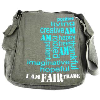 Handmade Expression Jute Messenger Bag - I AM FAIR TRADE (India)