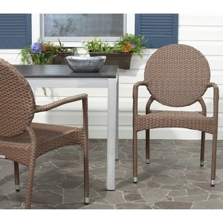 Valdez Brown Indoor Outdoor Stackable Arm Chair (Set of 2)