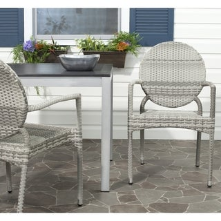 Safavieh Valdez Grey Indoor Outdoor Stackable Arm Chair (Set of 2)