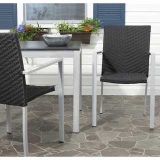 Cordova Black Stackable Indoor Outdoor Arm Chair (Set of 2)
