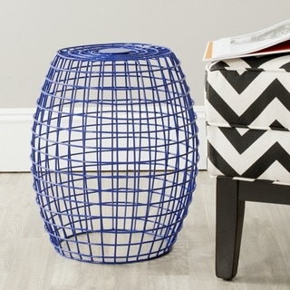 Safavieh Eric Dark Blue Grid Stool