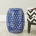 Evan Dark Blue Iron Strips Welded Stool