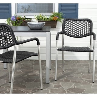 Safavieh Sitka Black Indoor Outdoor Stackable Arm Chair (Set of 2)
