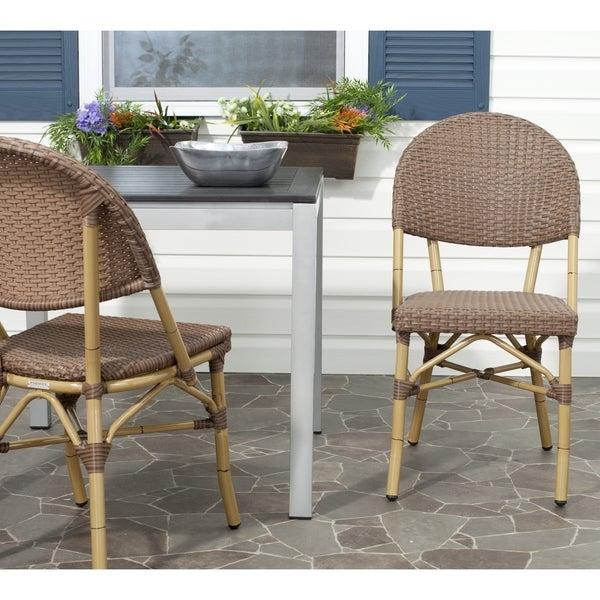 Safavieh Barrow Brown Indoor Outdoor Stackable Side Chair (Set of 2)