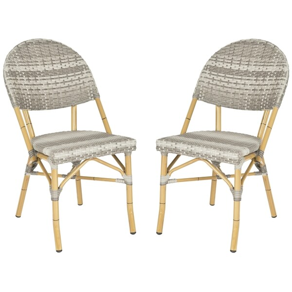 Safavieh Barrow Grey Indoor Outdoor Stackable Side Chair (Set of 2)