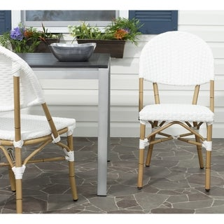 Safavieh Dining Rural Woven Barrow Off White Indoor/ Outdoor Stackable Dining Chairs (Set of 2)