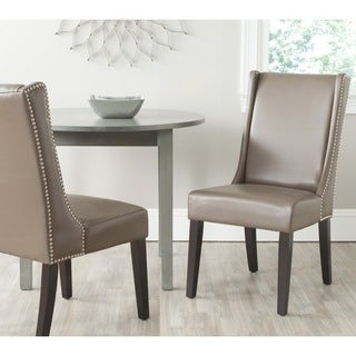 Safavieh Sher Clay Bi-Cast Leather Side Chair (Set of 2)