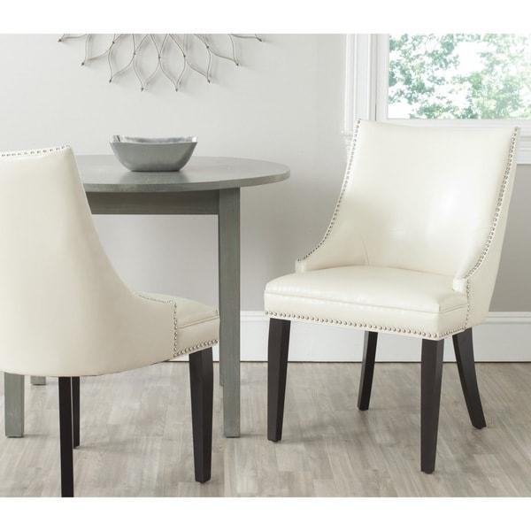 Safavieh En Vogue Dining Afton Flat Cream Bi-Cast Leather Side Chairs (Set of 2)
