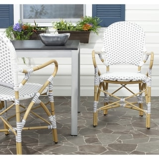 Hooper Grey/ White Indoor Outdoor Stackable Arm Chair (Set of 2)