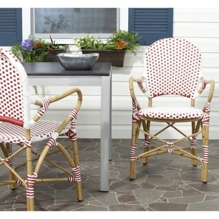 Safavieh Hooper Red/ White Indoor Outdoor Stackable Arm Chair (Set of 2)