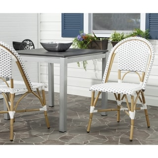Safavieh Salcha Grey/ White Indoor Outdoor Stackable Side Chair (Set of 2)