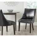 Afton Black Bi-Cast Leather Side Chair (Set of 2)