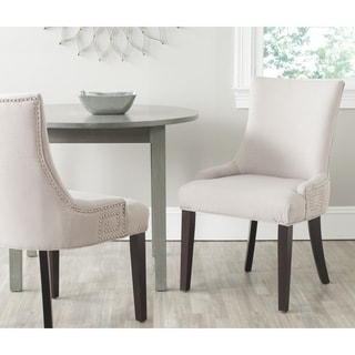 Safavieh Gretchen Taupe Linen Fabric Side Chair (Set of 2)