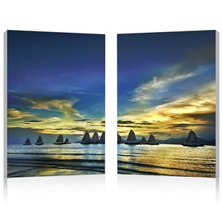 Sunset Sails Mounted Photography Print Diptych