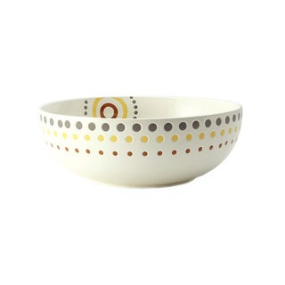 Rachael Ray White 10-Inch 'Circles and Dots' Stoneware Round Serving Bowl