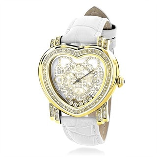 Luxurman Women's 1/3ct Yellow Gold-plated Diamond Heart Watch with Two Extra Leather Straps
