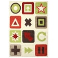 Magic Symbols Beige Area Rug (3'11 x 5'7)