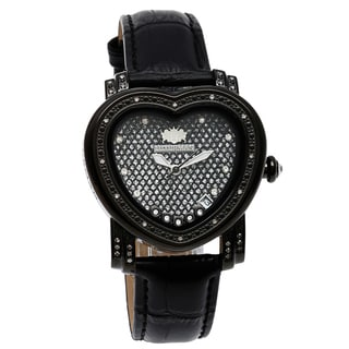 Luxurman Women's 1/4ct Black Diamond Heart Watch