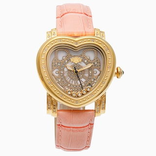 Luxurman Women's 1/3ct Pink Diamond Heart Automatic Watch