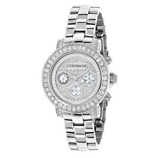 Luxurman 3ct TDW White Diamond Watch