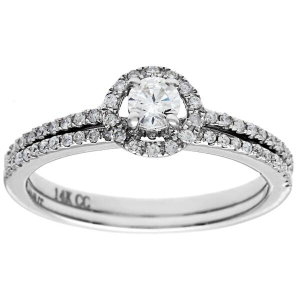14k White Gold 1/2ct TDW Round Prong-set Diamond Bridal Set (G-H, I1)