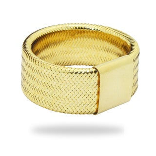 Gioelli 14k Yellow Gold Woven Mesh Wide Band