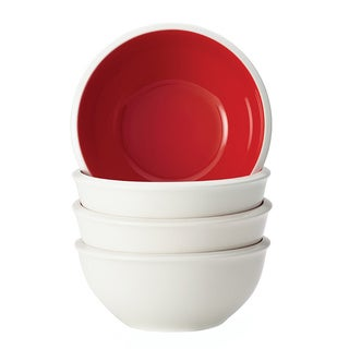 Rachael Ray Dinnerware Rise 4-piece Stoneware Cereal Bowl Set, Red