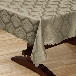 Two-tone Tan Shell Damask 57x118-inch Tablecloth