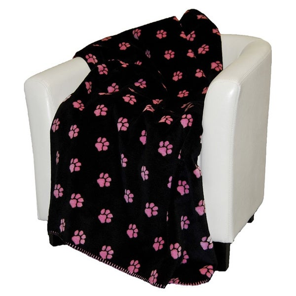 Denali Pink and Black Paw Prints Throw Blanket