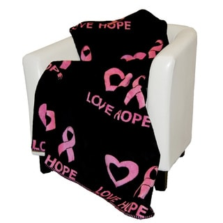Denali Pink and Black Love Hope Throw Blanket