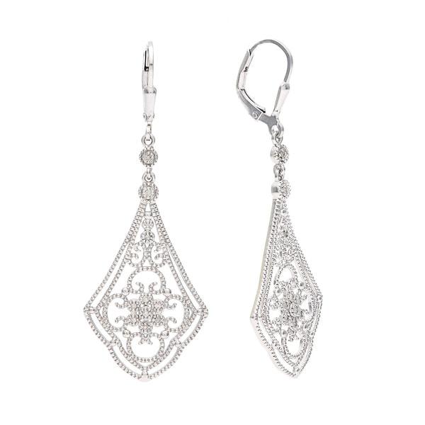 La Preciosa Sterling Silver Drop Diamond Earrings