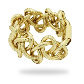 Gioelli 14k Yellow Gold Braided Mesh Ring