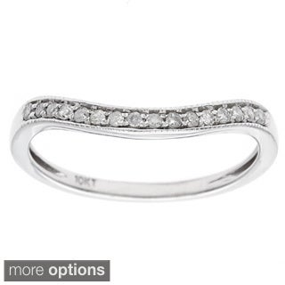 10k White Gold 1/6ct Curved Pave Diamond Band (G-H, I1-I2)