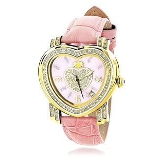 Luxurman Women's 1/3ct Pink Heart Diamond Automatic Watch
