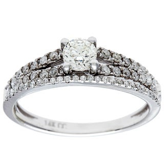 14k White Gold 3/4ct TDW Round-Cut Diamond Bridal Set (G-H, I1)