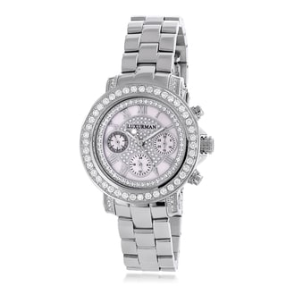Luxurman Women's 3ct Diamond Mother of Pearl Dial Watch Metal Band plus Extra Leather Straps
