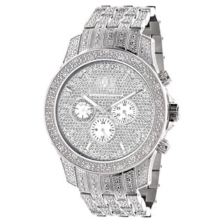 Iced Out Watches Luxurman Mens 1.25ct Diamond Watch with Metal Band and Extra Leather Straps