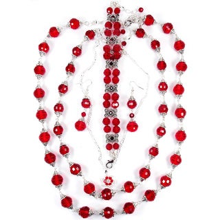 Light Siam Red Crystal Double Strand Jewelry Set