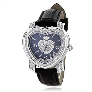 Luxurman Women's Blue Heart Floating Diamond Watch
